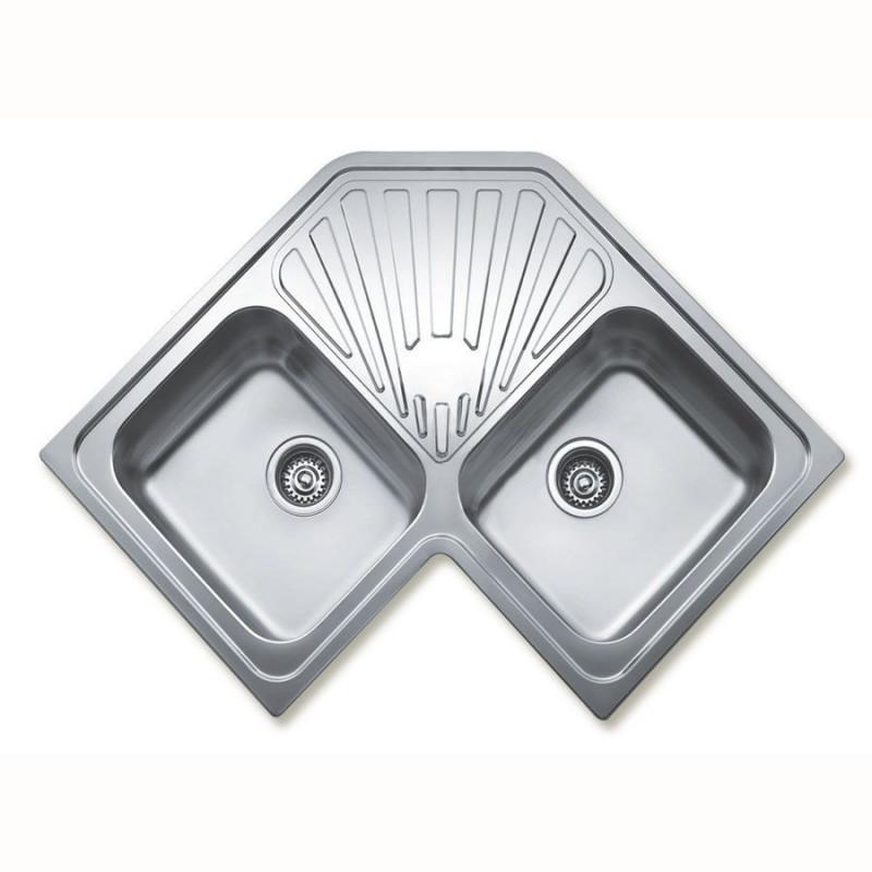Fregadero teka angular 2c en acero inoxidable de dos for Fregadero para lavadero