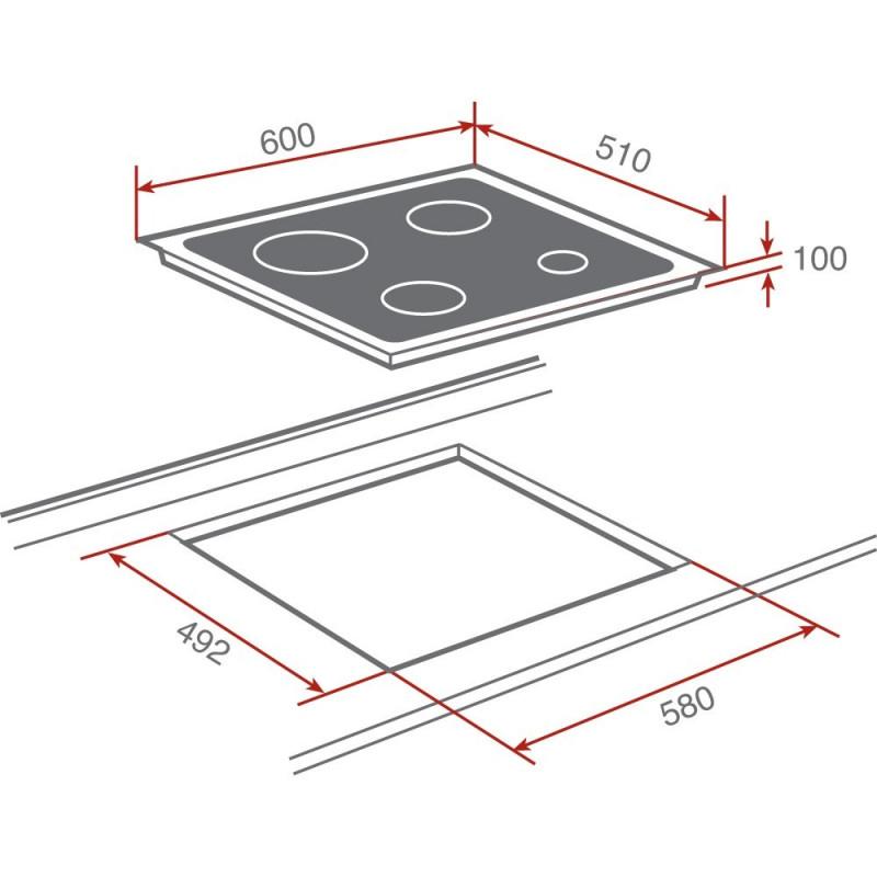 Encimera cristal gas sin mandos a gas butano teka cgc 4g - Medidas vitroceramica estandar ...