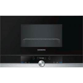 Microondas Siemens BE634LGS1 integrable con grill, 21 litros negro y acero