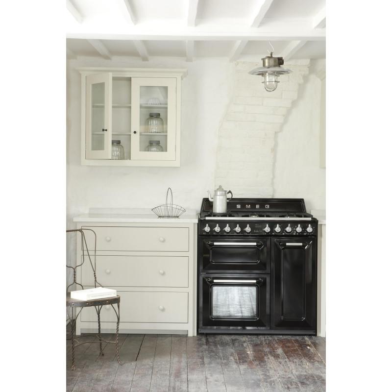 Cocina smeg TR93BL 90x60 cm negra clase A/B