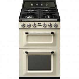 Cocina a gas, SMEG TR62P, Crema/Beig, 4 zonas, Zona Gigante