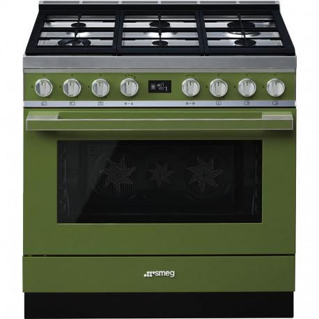 Cocina SMEG CPF9GMOG Cocinas a gas horno eléctrico Verde agua Más de 4 zonas, Zona Gigante