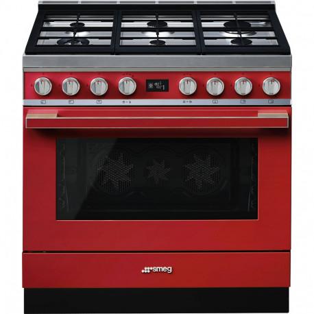 Cocina SMEG CPF9GMR Cocinas a gas horno eléctrico Rojo Más de 4 zonas, Zona Gigante