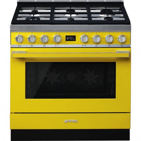 Cocina SMEG CPF9GMYW Cocinas a gas horno eléctrico Amarillo Más de 4 zonas, Zona Gigante