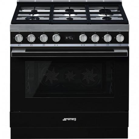 Cocina SMEG CPF9GPBL Cocinas a gas horno eléctrico Negro Más de 4 zonas, Zona Gigante