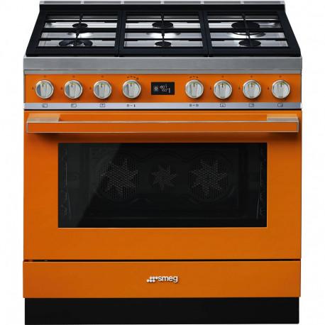 Cocina SMEG CPF9GPOR Cocinas a gas horno eléctrico Naranja Más de 4 zonas, Zona Gigante