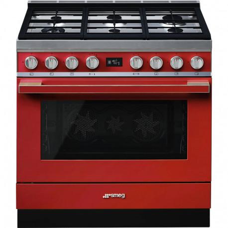 Cocina SMEG CPF9GPR Cocinas a gas horno eléctrico Rojo Más de 4 zonas, Zona Gigante