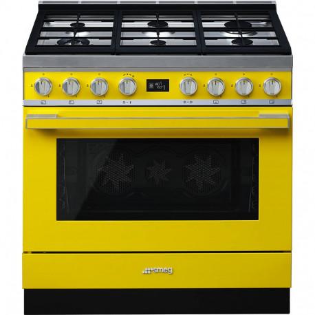 Cocina SMEG CPF9GPYW Cocinas a gas horno eléctrico Amarillo Más de 4 zonas, Zona Gigante