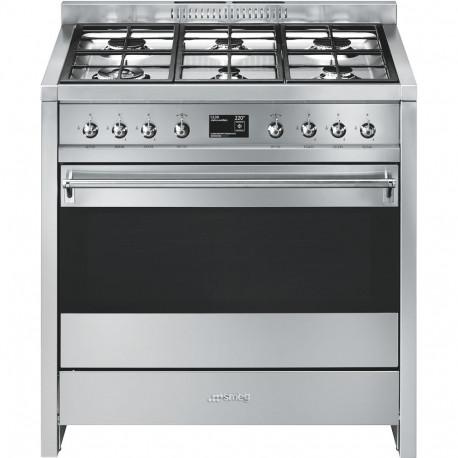 Cocina a gas SMEG A1-9, 6 Fuegos, Inoxidable