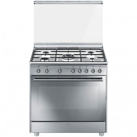 Cocina a gas SMEG SX91SV9, 5 Zonas, Inoxidable, Zona Gigante