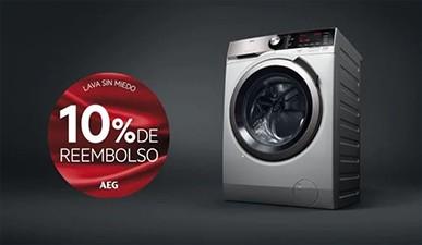 Compra una lavadora o una secadora AEG y te abonarán un 10% de tu compra.